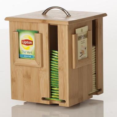 Distributeur de sachet de thé en bamboo très pratique